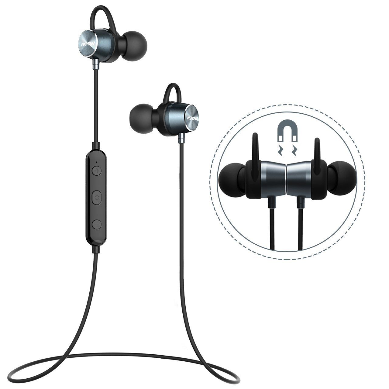 9239380a669 Auriculares Magnéticos Deportivos, Mpow Auriculares Bluetooth 4.1 Correr  Inalámbricos Auricular Magnético Ruido de Cancelación CVC