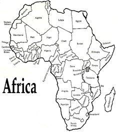 White outline printable Africa map with political labelling