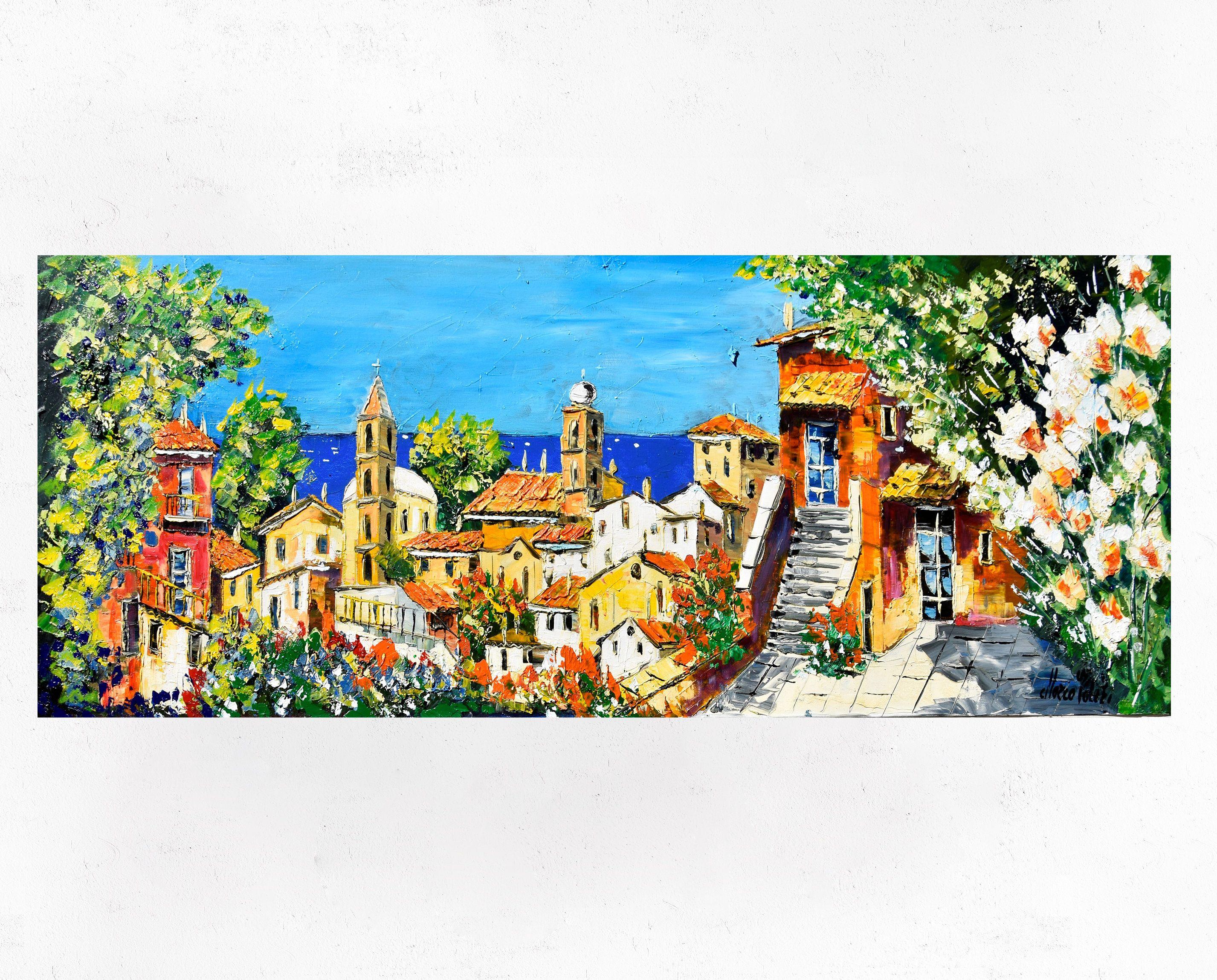 Pittura della Costiera Amalfitana su tela, idea regalo ...