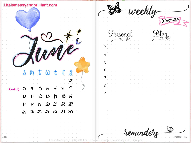 June Digital Planner Layout & Setup   Personal development