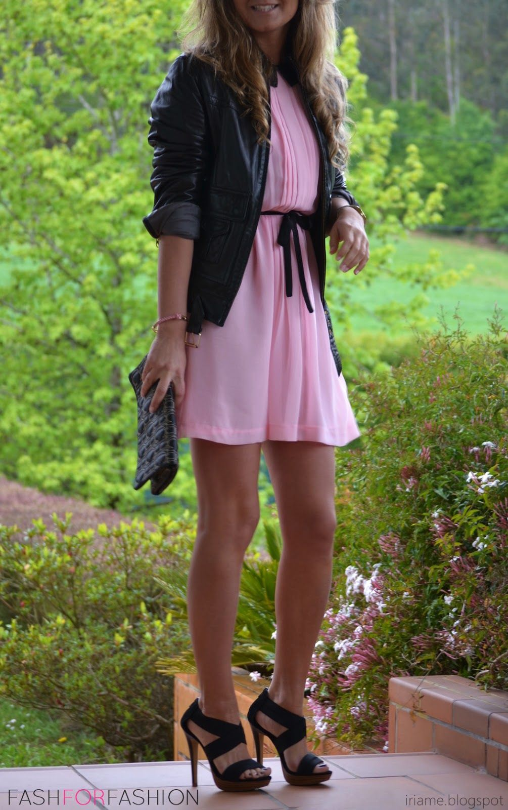 Pink dress with pink jacket  leather jacket over girly pink dress  Moda  Pinterest  Pink