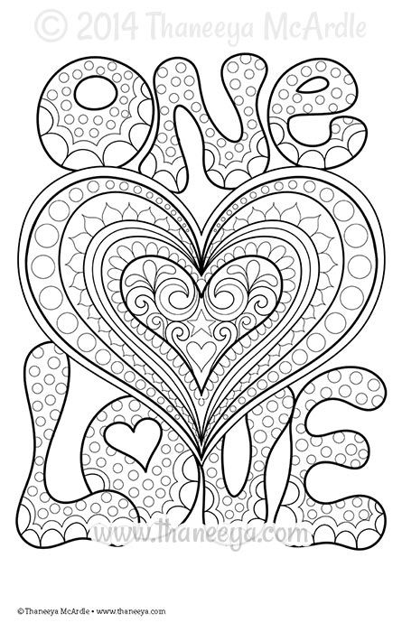 one love coloring page by thaneeya mcardle coloring creativity love coloring pages coloring. Black Bedroom Furniture Sets. Home Design Ideas