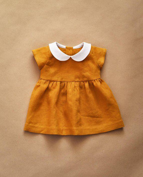 0d82a24b54d33 Linen Dress, Baby Dress, Peter Pan Collar, Mustard Linen, Baby Girl Clothes,  Baby Shower Gift, Kids
