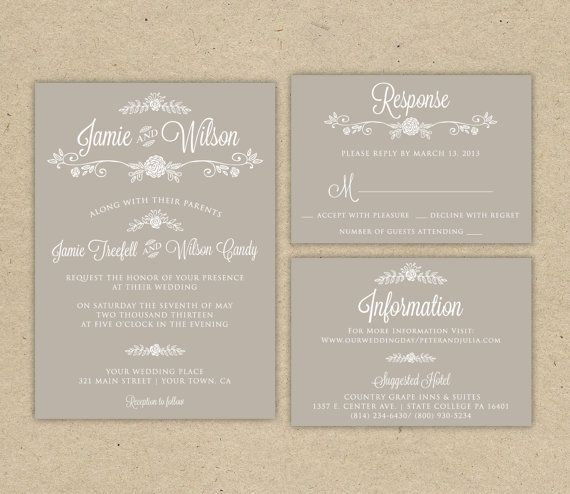 wedding invitation and rsvp printable diy modern vintage rustic