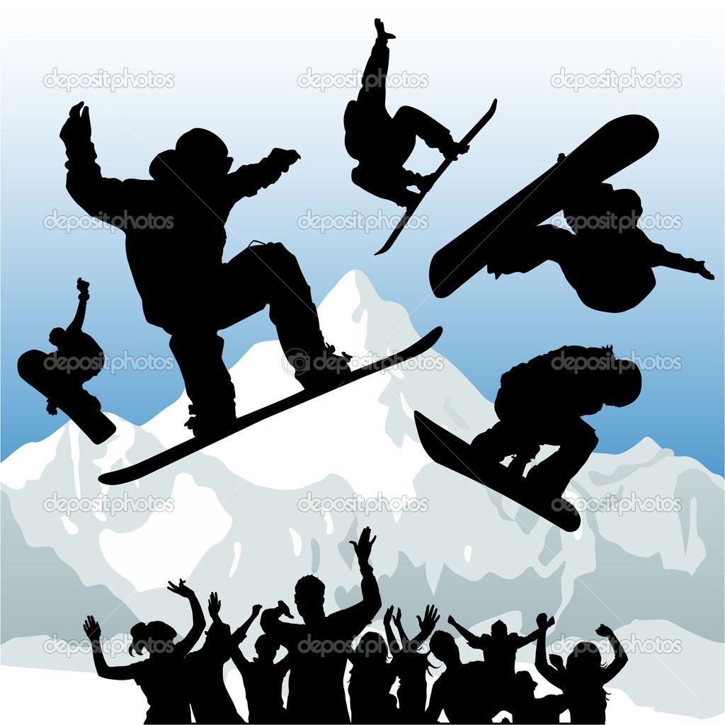 silhouettes of snowboarders Google Search Illustration