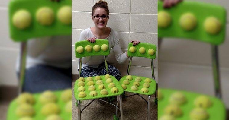 Profesora inventa una silla de pelotas de tenis que está ayudando a niños con problemas sensoriales