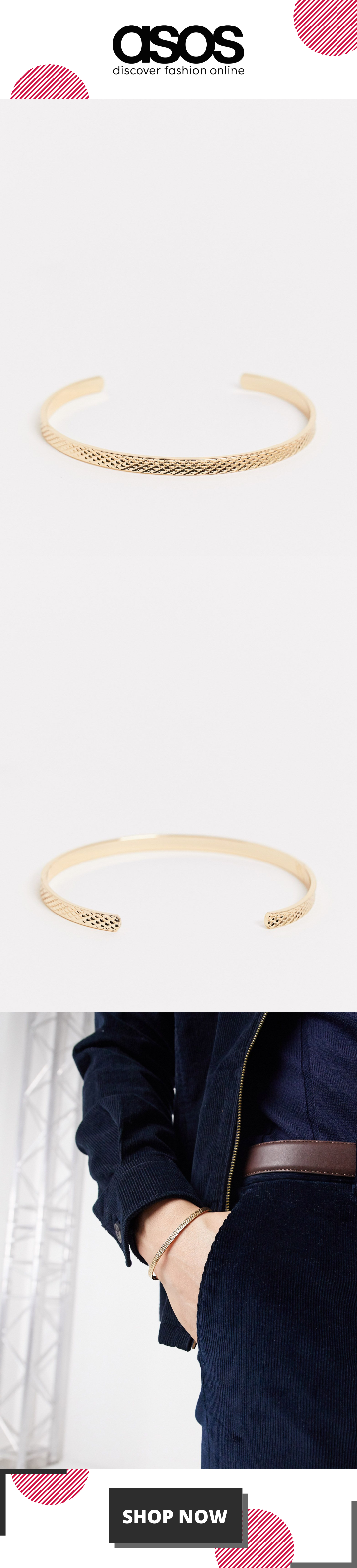 ASOS DESIGN diamond cut bangle in gold tone