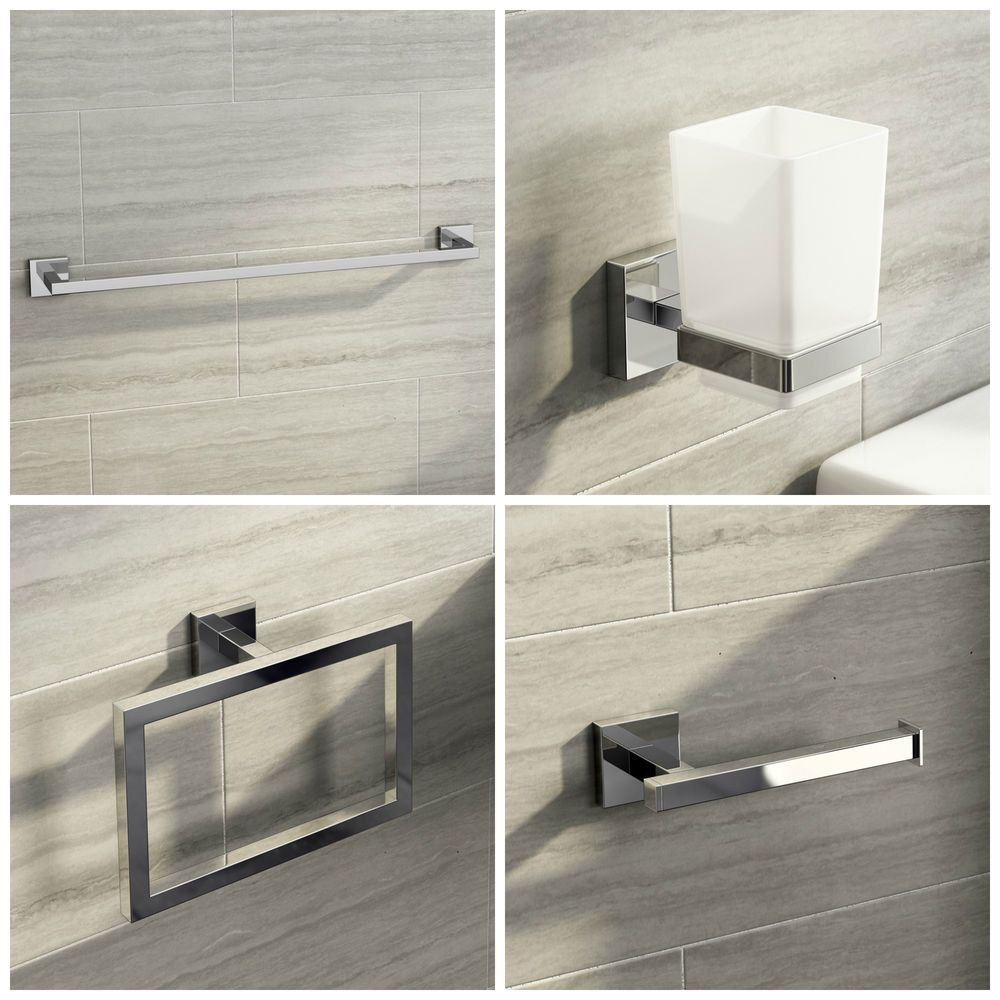 Modern Square Chrome Bathroom Accessories Towel Ring Robe Hook