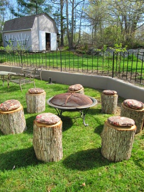 Here Are Some Examples Of How You Can Turn Tree Stumps And Logs Into Unique Furniture That Will Last For Ye Fire Pit Backyard Fire Pit Seating Rustic Fire Pits