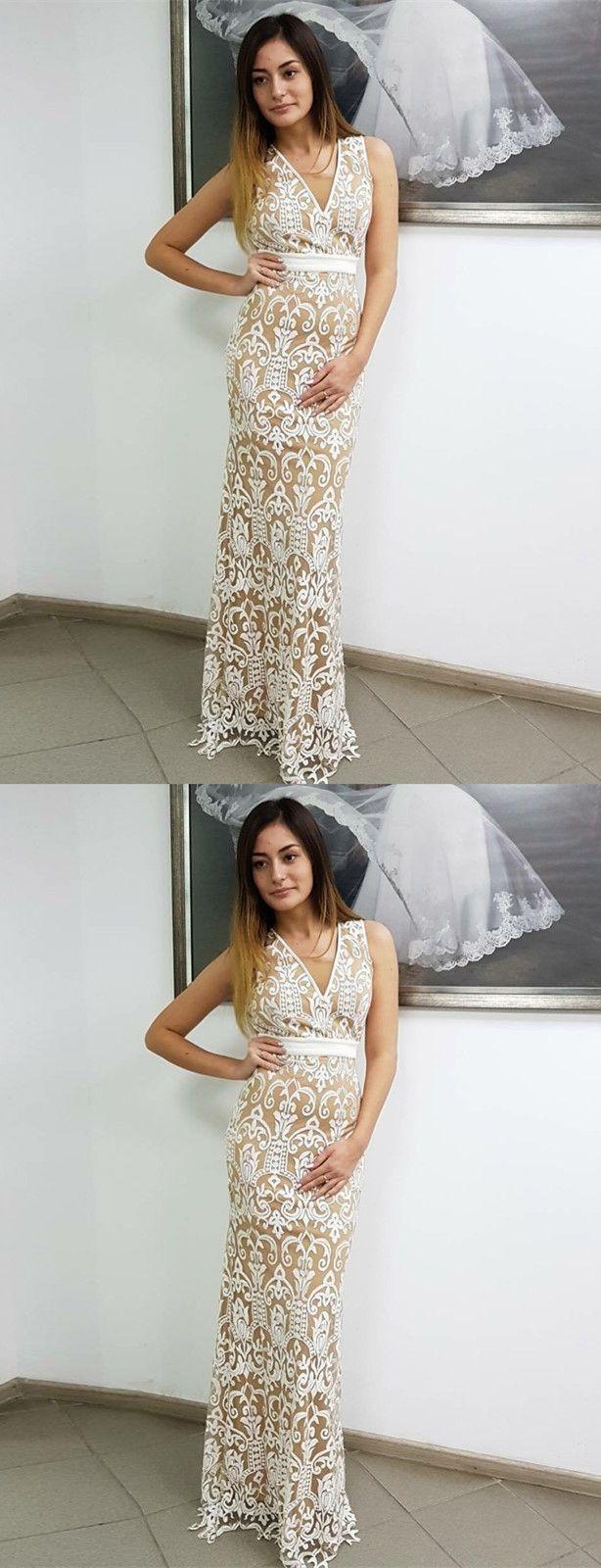 Sheath vneck sleeveless backless floorlength white lace prom dress