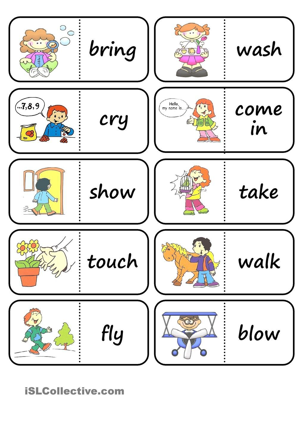 pictionary action verb set from r to t esl worksheets of action words domino mais