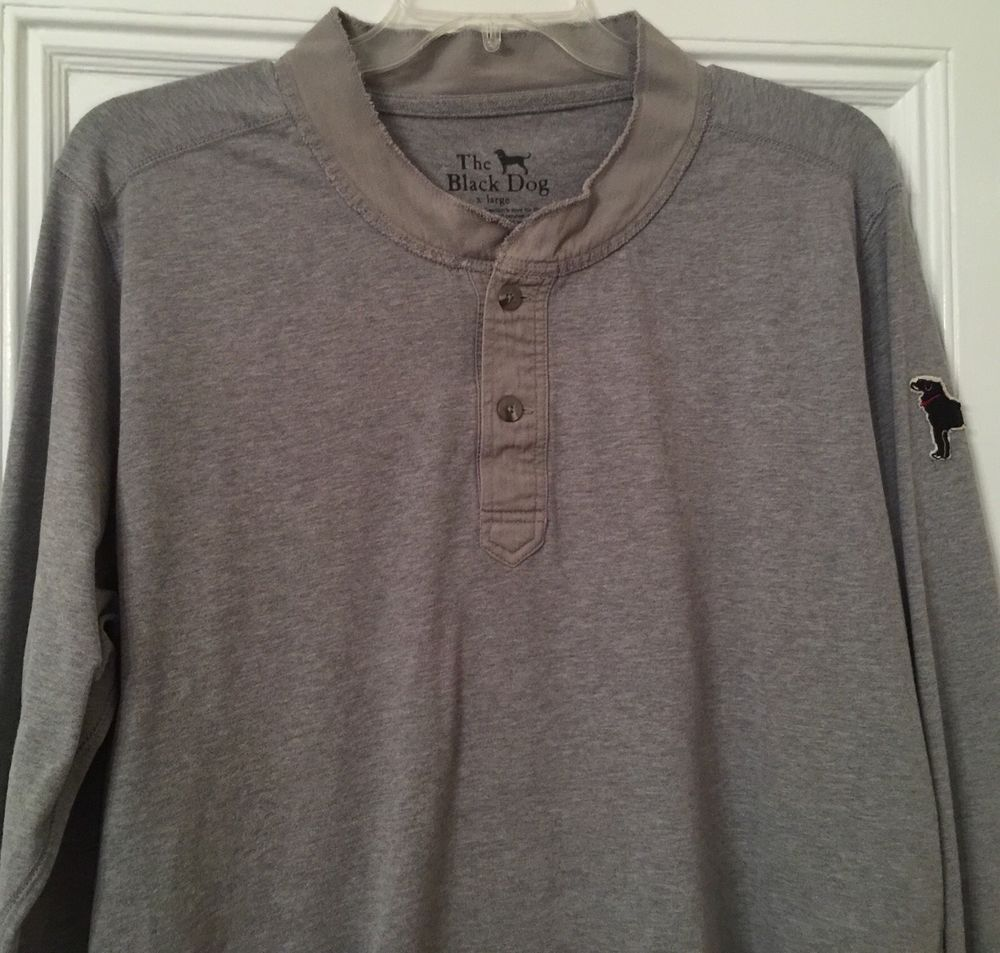 Black dog t shirt ebay - The Black Dog Of Martha S Vineyard Bosun Henley Pullover Top Men S Size Xl Gray