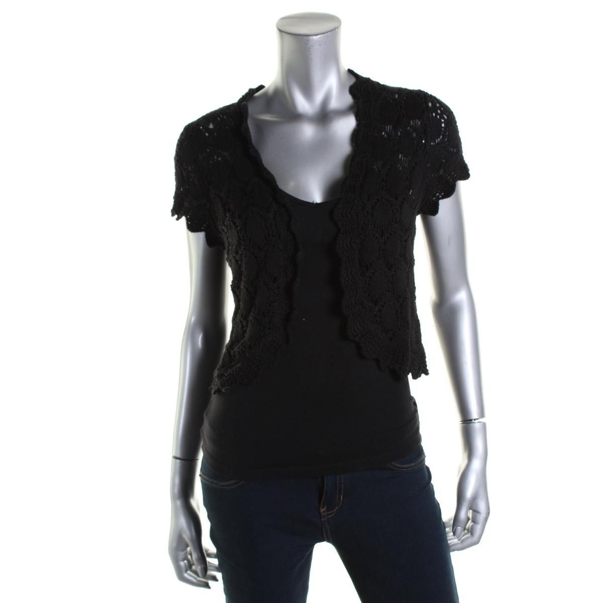 Style & Co. Womens Short Sleeves Open Stitch Cardigan Sweater ...