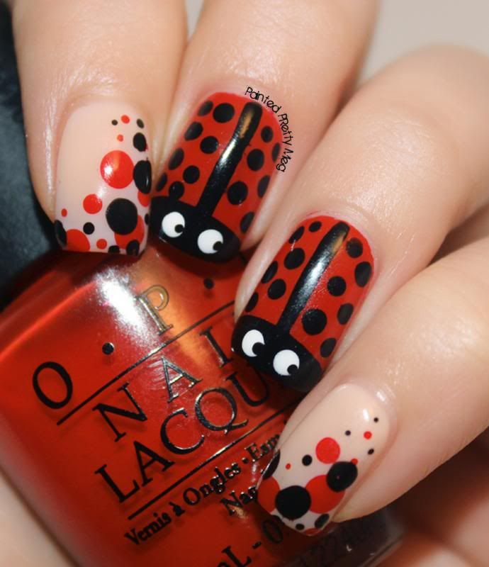 Opi Red Lady Bug Nail Art 1 Nehty Pinterest Opi Red Lady Bugs