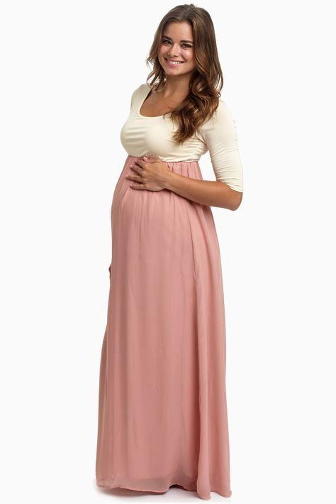 17727ee1ccb0 Blush Pink Chiffon Colorblock Maternity Maxi Dress | Maternity ...