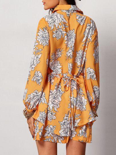 Kleid Langarm mit Blumenmuster - gelb