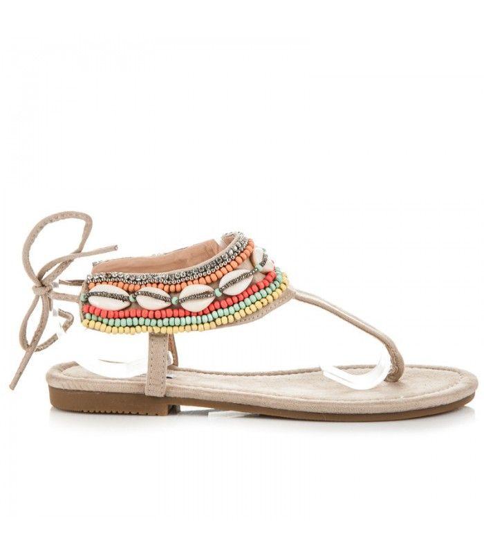 196ff5e4dfcea Béžové viazané sandále v etnickom štýle | Dámske sandále | Sandále