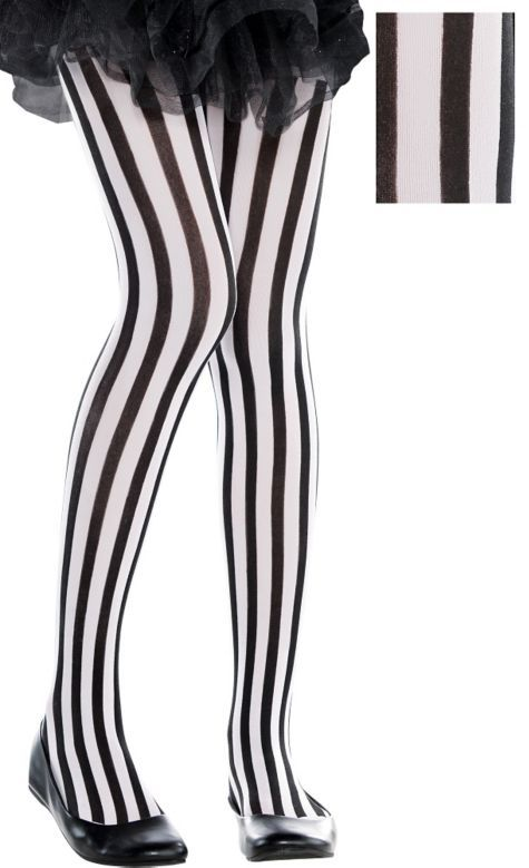 36b963b1cc789 Child Black & White Vertical Striped Tights - Party City | Holiday ...