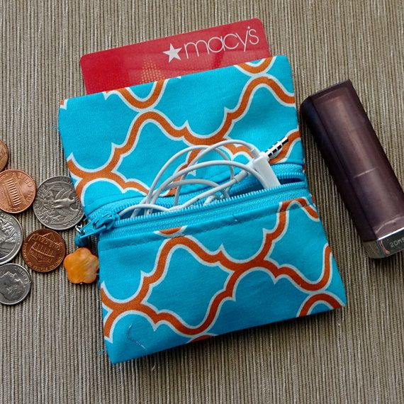 Coin Purse Zippered PurseTurquoise & Orange Fabric PurseEar