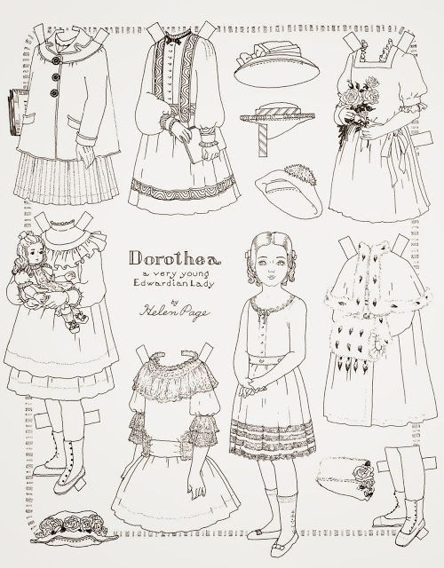 Paper doll coloring page. | Animals | Pinterest | Dolls, Vintage ...