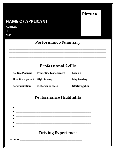 Driver Resume Template  Wordstemplates    Template