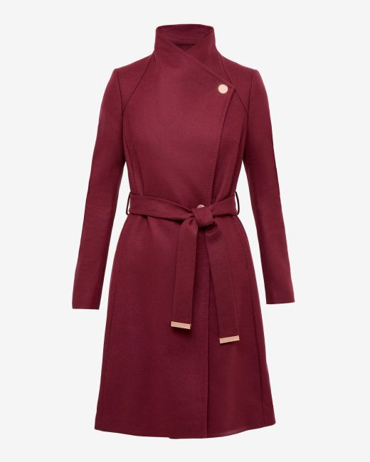 outlet store online store where can i buy Long wrap coat - Oxblood   Jackets & Coats   Ted Baker   Coat
