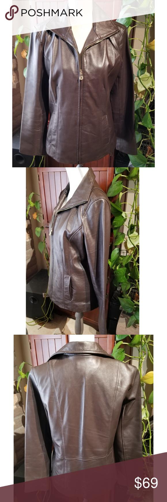 Jaclyn Smith Brand Genuine Leather Jacket Jaclyn Smith Brand Genuine Leather Jacket Size L Smooth Grain Genuine Leather Jackets Leather Jacket Clothes Design [ 1740 x 580 Pixel ]