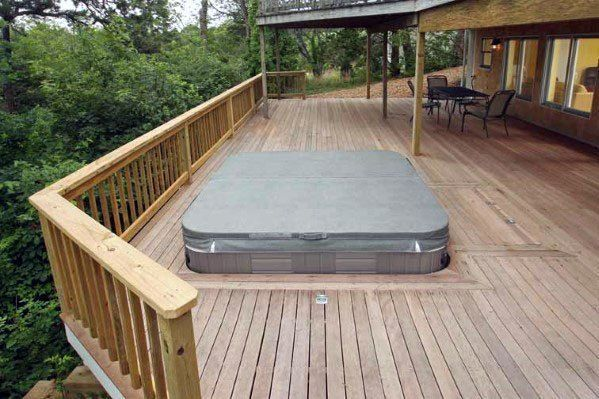 Top 80 Best Hot Tub Deck Ideas - Relaxing Backyard Designs #hottubdeck Do you have to don't have a deck but or are looking out for some new ideas, look no extra. The subsequent affords you with a sequence of deck design ideas in all sizes and kinds, and one is certain to suit your needs. #woodendeckhandrailideas #hottubdeck