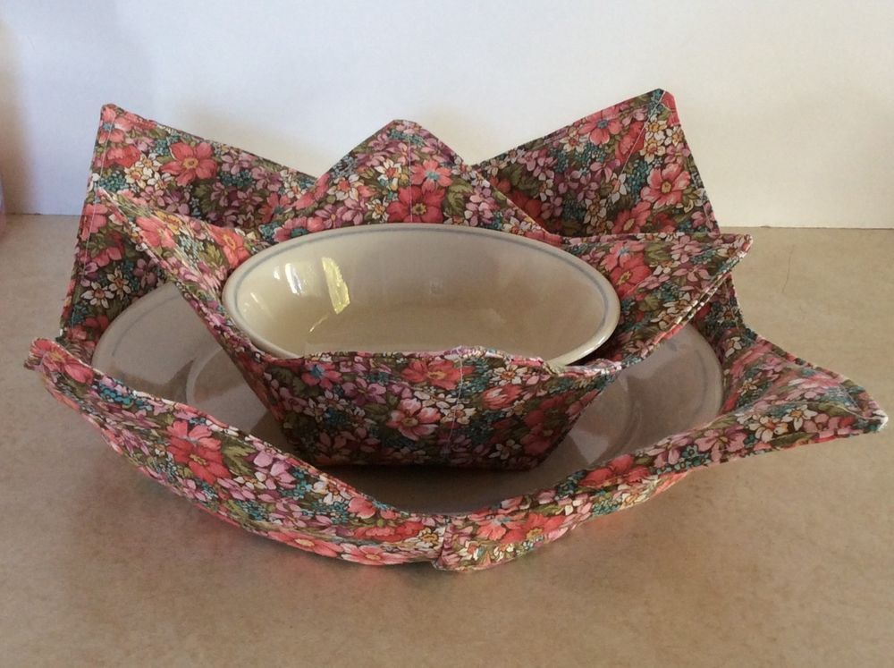 MICROWAVE PLATE/BOWL COZY ~ POT HOLDER ~ HOME MADE ~Country Floral 2 : microwave plate holder - Pezcame.Com