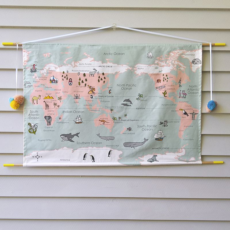 World map wall hanging pastel kids rooms pinterest walls world map wall hanging pastel gumiabroncs Gallery