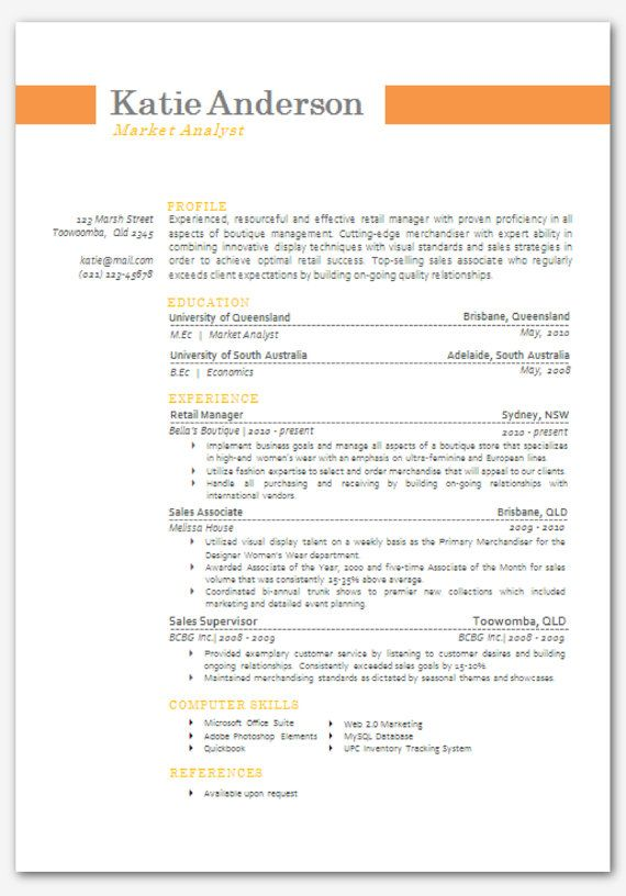 Modern Microsoft Word Resume Template Katie by Inkpower on Etsy - microsoft word resume template