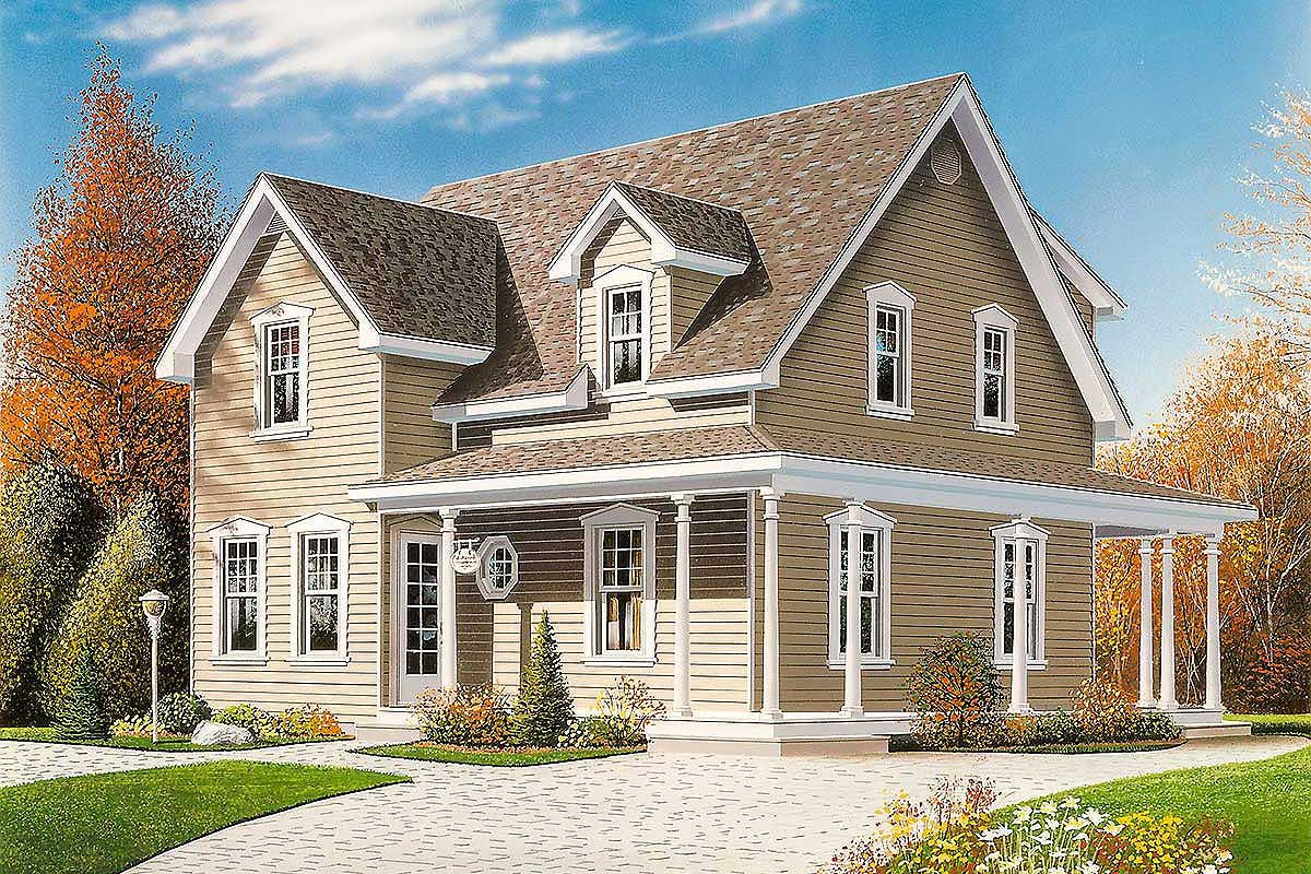Narrow Lot Country Home Plan