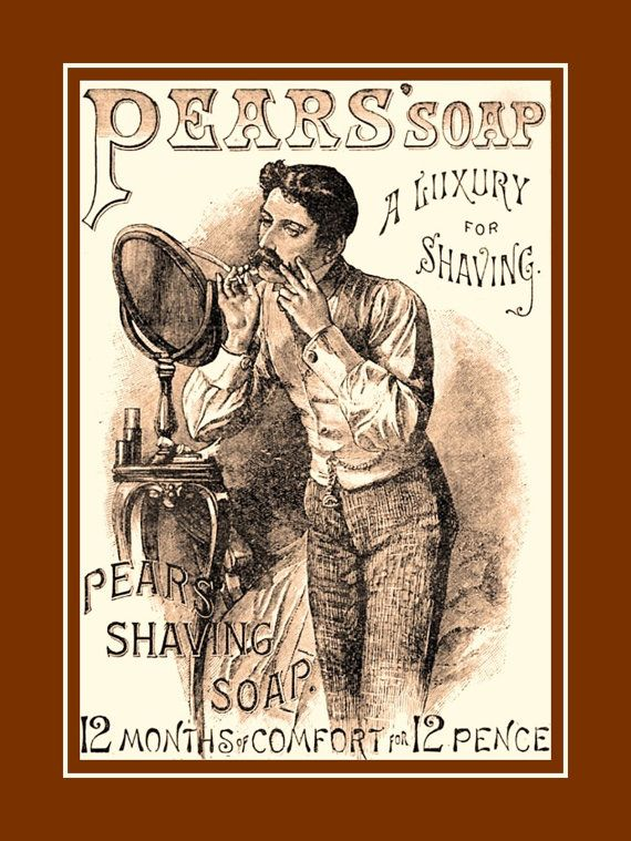 Vintage Barber Shop Wall Art Poster Old Time Pears Shaving Soap 1900s Ad Mens Room Bachelor Bathroom Print 5x7 11x14