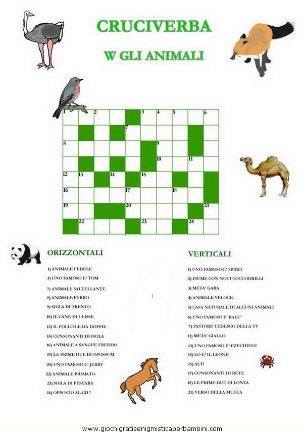 Cruciverba Sul Verso Degli Animali Da Stampare Italiano Italian