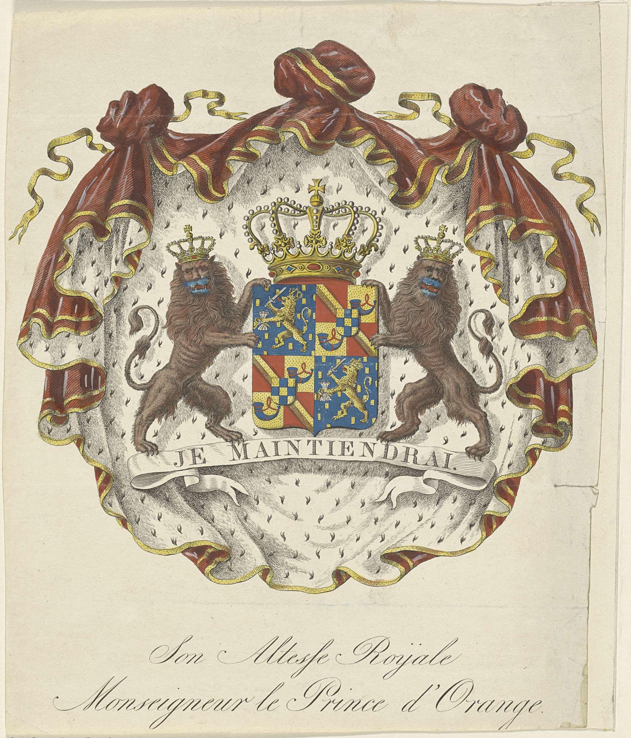 Wapen van Willem III, koning der Nederlanden, als prins van Oranje, anoniem, 1817 - 1899