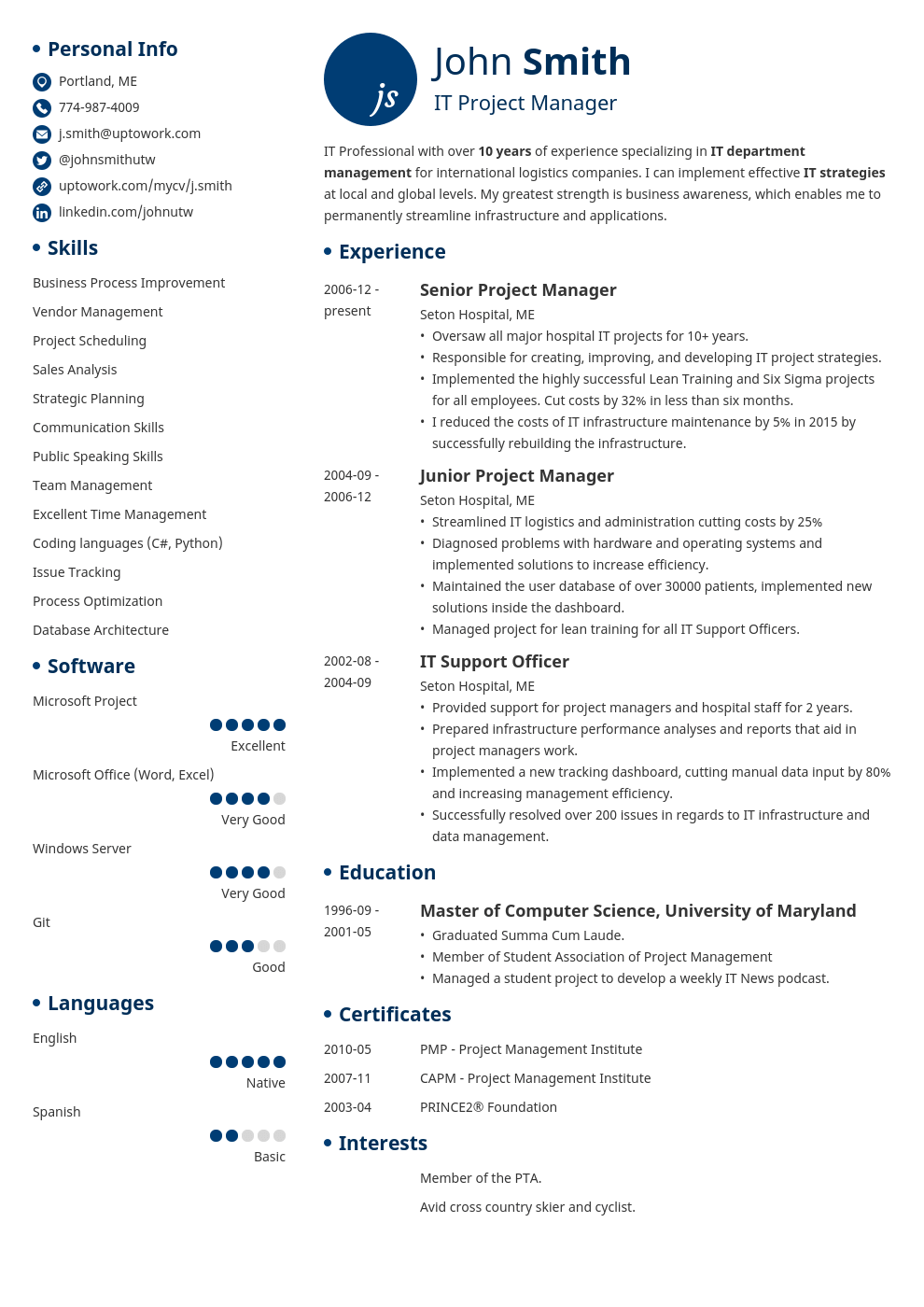Contact Info Zety Resume Template Professional Downloadable