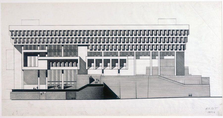 East Elevation Of Boston City Hall By Kallmann Mckinnell