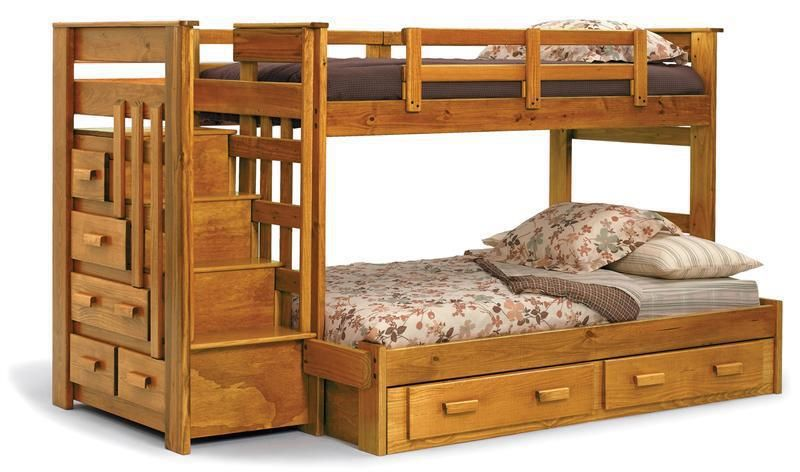 Double Deck Bed With Drawers 01 Woodcraft Bunk Beds With