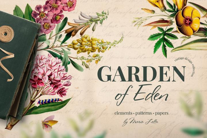 Garden Of Eden Vintage Design Set 390560 Illustrations Design Bundles Eden Design Garden Of Eden Vintage Designs