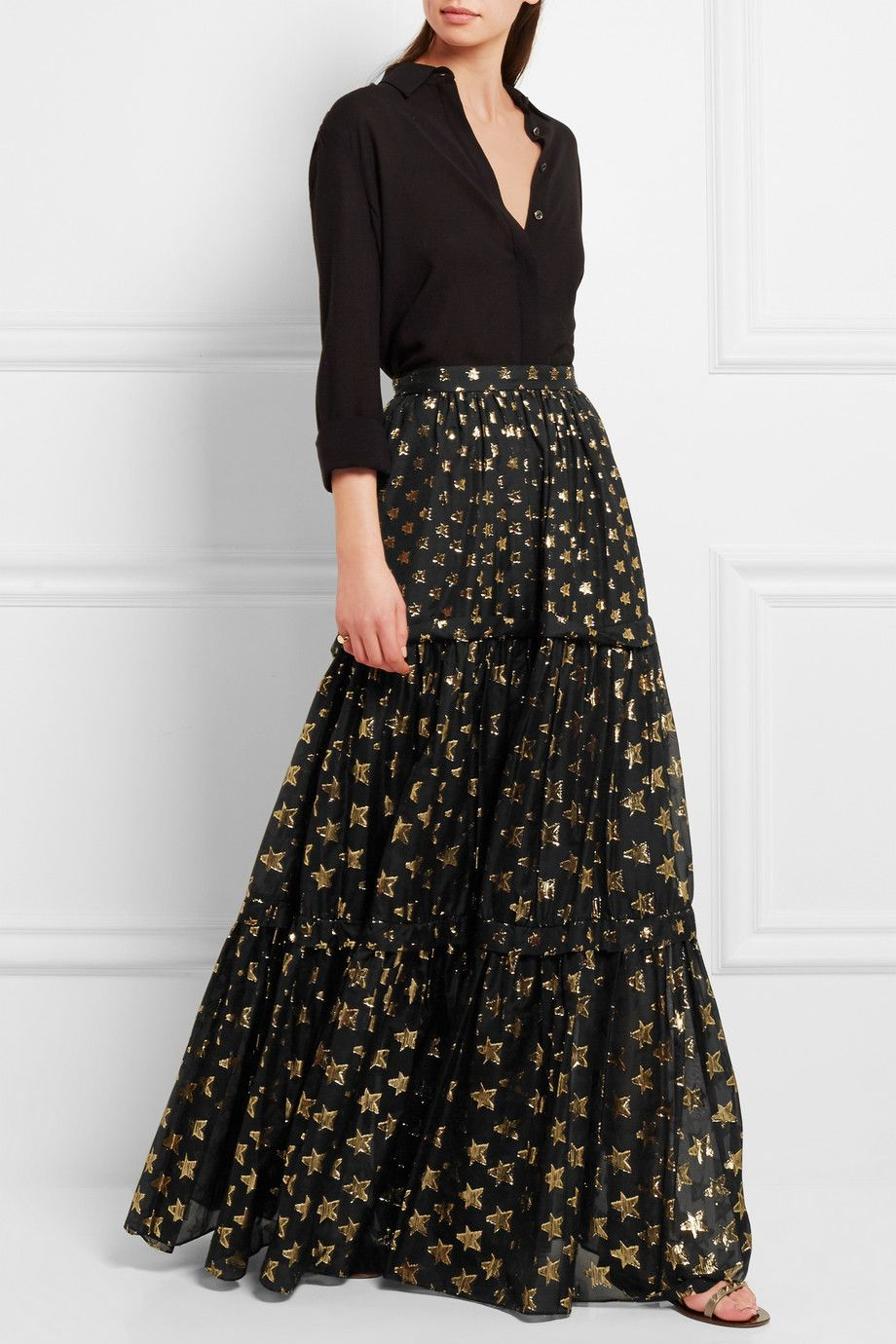 Temperley london peggy metallic fil coupé maxi skirt neta