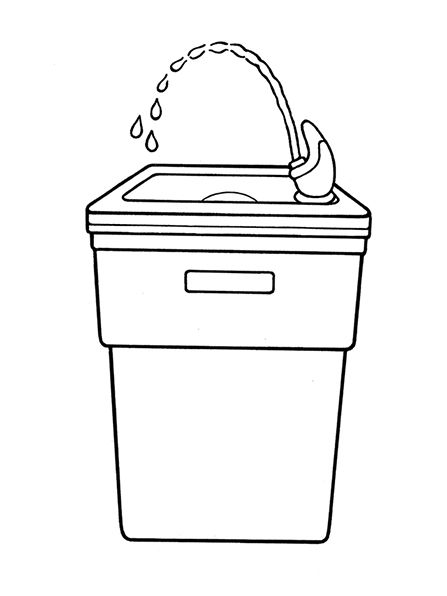 A black-and-white illustration of a drinking fountain with
