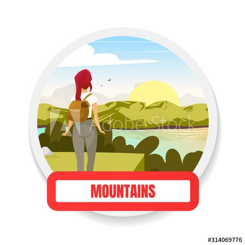 Mountains flat color vector badge. Trekking on hills peak. Adventure and toursim. Backpacking and wilderness exploration. Hiking graphic sticker. Expedition isolated cartoon design element , #Ad, #hills, #Trekking, #peak, #toursim, #Adventure #Ad