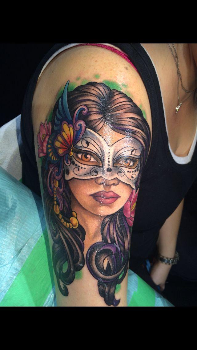 Masquerade lady Gemini tattoo   Gemini tattoo, Tattoos ...