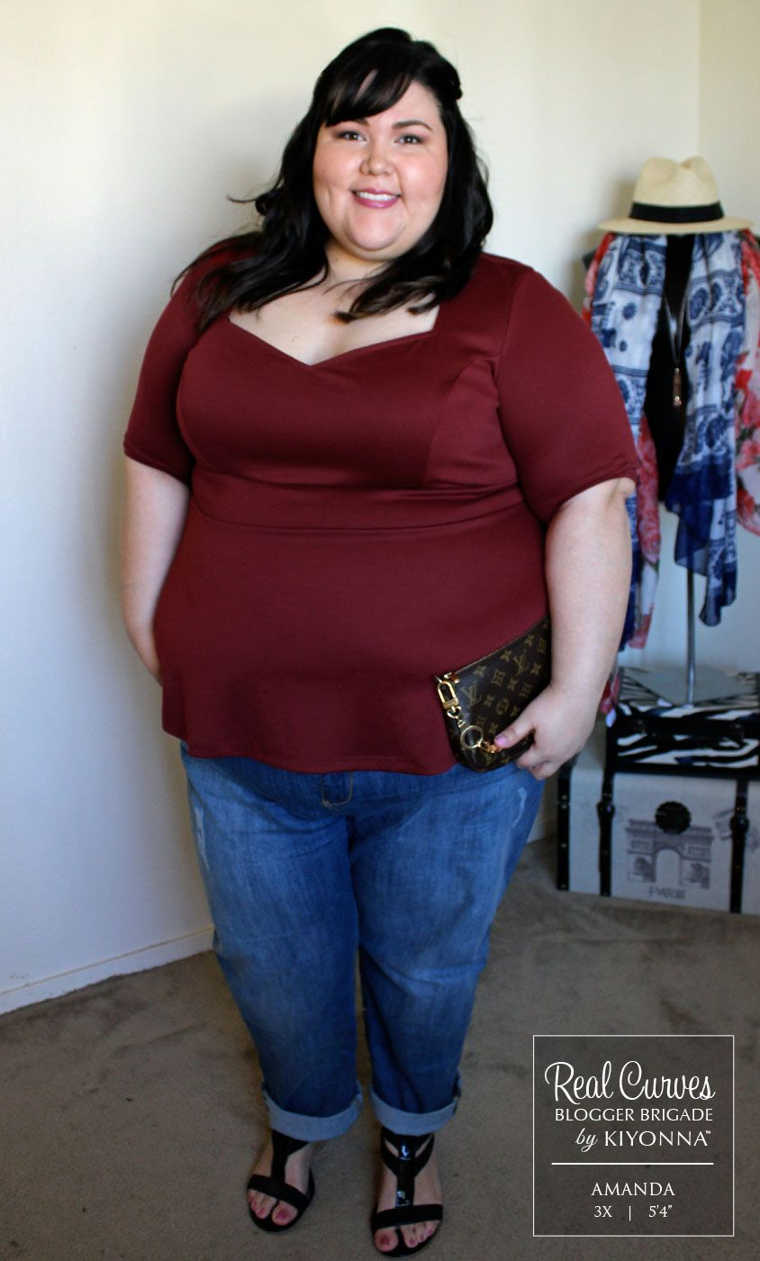 """Blogger Amanda (5'4"""") from FashionLoveandMartinis.com shows us the perfect Sunday outfit in our plus size Posh Ponte Peplum Top.  Paired with boyfriend jeans and wedges, this fashionista was ready for brunch!  www.kiyonna.com  #KiyonnaPlusYou  #Plussize  #MadeintheUSA  #Kiyonna   #OOTD"""