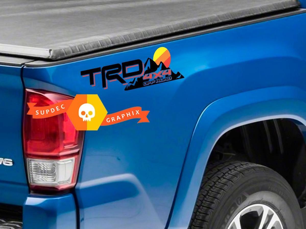 2 TRD Toyota Tacoma Tundra Decals demon logo Vinyl Sticker stripes 4x4 graphics