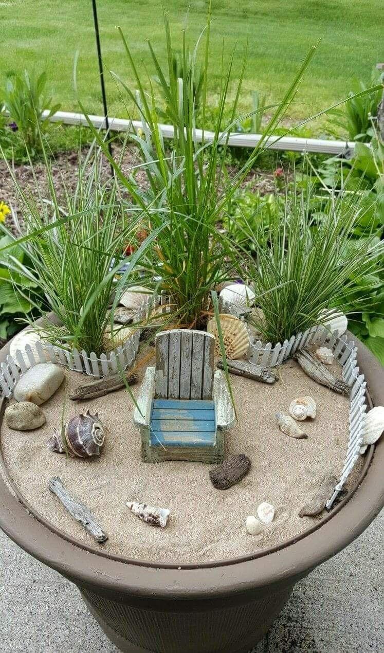 miniature fairy garden beach scene