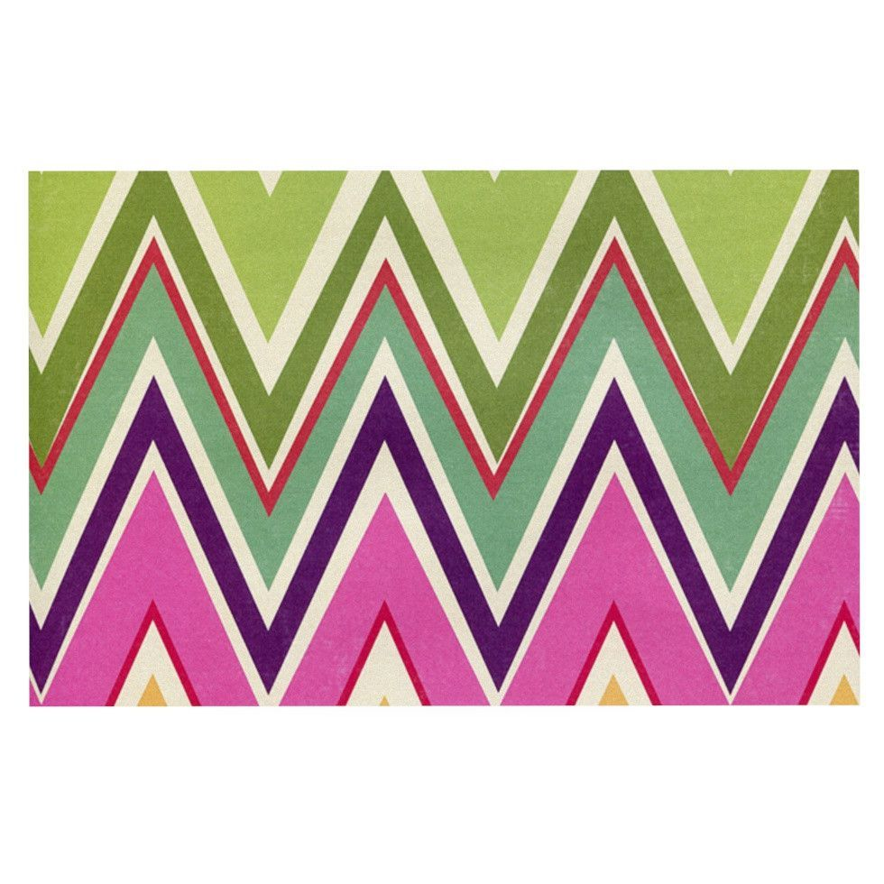 Heidi Jennings Clash Of Color Rainbow Chevron Decorative Door Mat Shower CurtainsRainbow