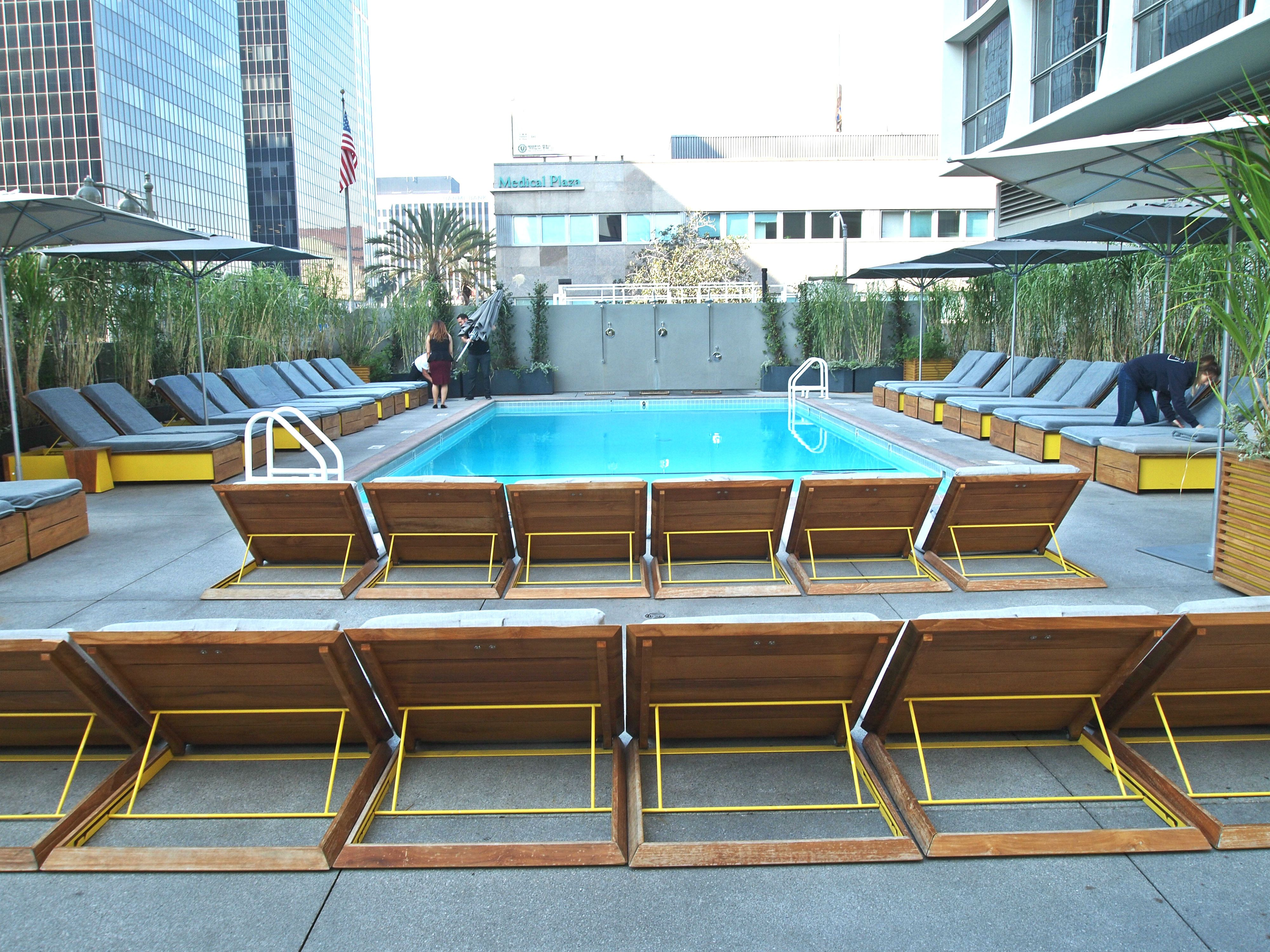 Pool at the Line Hotel / Commissary Koreatown Downtown Los Angeles  California