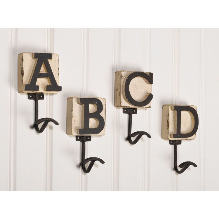 unique alphabetic wooden wall hooks with bright white beadboard - Decorative Wall Hooks