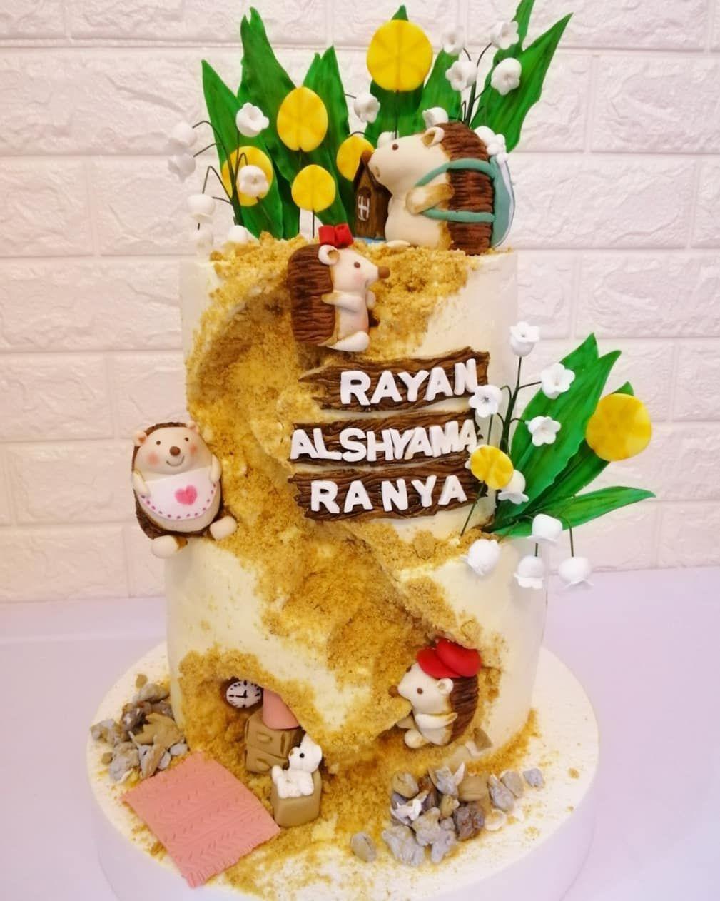 كيكة بيت عائلة القنفذ Hedgehog Family Cake دورين كيك فانيلا 6 8 انش Birthday Cake Cake Birthday